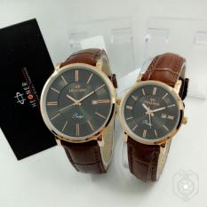 Hegner HR403 Original Watch - Jam Tangan Couple Murah - Stainlees Steel - Leather Strap