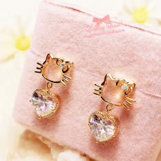 Hello Kitty Imut Berongga Bentuk Jantung Hati Anting Jarum Perak