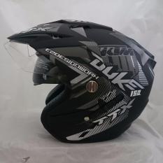 Helm 2 kaca (double visor) Duke Black doff abu