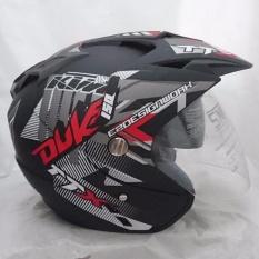 Helm 2 kaca double visor Duke black doff red