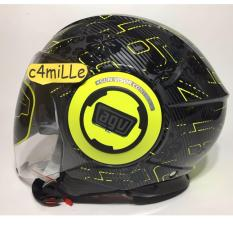 HELM AGV FLUID IBISCUS GUN METAL YELLOW DOUBLE VISOR 46 HALF FACE
