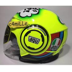 HELM AGV FLUID MISANO 2011 YELLOW FLUO DOUBLE VISOR 46 HALF FACE