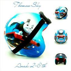 Helm Anak 2-6 Th Bogo Retro Motif Thomas Sky Blue Kacamata