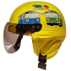 Helm Anak anak broco retro kaca riben lucu usia 1 sampai 4 tahun Motif Tayo Kuning