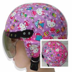 Helm Anak Imut Chips Retro Karakter new Hello Kitty Kecil [1 - 4 Tahun] - Ungu Pink