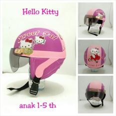 Helm Anak Lucu Karakter kucing lucu usia 1 - 5 Tahun + Kaca Riben - Ungu/Pink