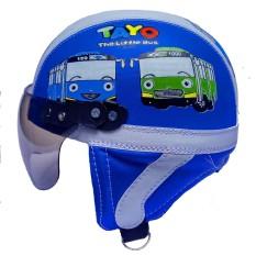 Helm Anak Lucu Spesial Edition Usia 1-4 Tahun Motif Tayo Biru Putih