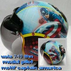 Helm Anak lucu usia 7 sampai 10 tahun Motif Pilot Captain America