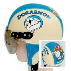 Helm anak Retro Lucu motif Doraemon 1-5 thn - Krem/Biru