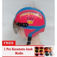 Helm anak Retro Lucu motif Robot 1-5 Thn - Biru/Merah Free Kacamata