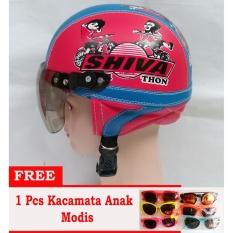 Penawaran Istimewa Helm Anak Retro Lucu Motif Shiva 1 5 Thn Biru Merah Free Kacamata Terbaru