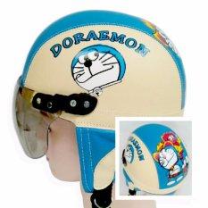 Helm Anak Retro lucu usia 1 - 5 tahun Motif Doraemon Cream/Biru