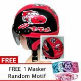 Helm Anak Retro Usia 1 4 Tahun Motif Carz Hitam Merah Free Masker Jbx Helmets Diskon 50
