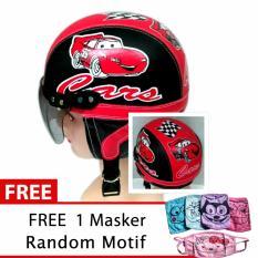 Dimana Beli Helm Anak Retro Usia 1 4 Tahun Motif Carz Hitam Merah Free Masker Jbx Helmets