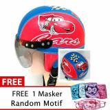 Harga Helm Anak Retro Usia 1 4 Tahun Motif Carz Merah Biru Free Masker Dan Spesifikasinya