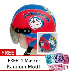 Jual Beli Online Helm Anak Retro Usia 1 4 Tahun Motif Doraemon Merah Biru Free Masker