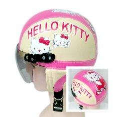 Helm Anak Unyu-unyu Model Retro Karakter Hellow Kity  [1 - 5 Tahun] - Cream Pink