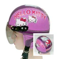 Helm Anak Unyu-unyu Model Retro Karakter Hellow Kity  [1 - 5 Tahun] - Ungu Tua Ungu muda