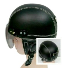 Helm Anak Unyu-unyu Model Retro Polos  [1 - 5 Tahun] - Plos Hitam