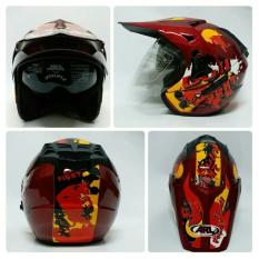 Helm ARL Semi Cross Half Face Double Visor Bull Fight Maroon