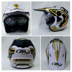 Helm Arl Semi Cross Half Face Double Visor Gas Morgan Putih Murah