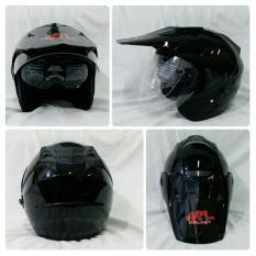 Helm ARL Semi Cross Half Face Double Visor Hitam Glossy Polos.