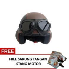 Spesifikasi Helm Baru Broco Pilot Kacamata Retro Dewasa Hitam Mix Coklat Beserta Harganya