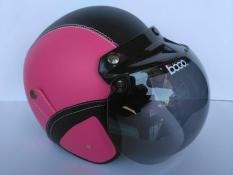 Helm bogo dewasa pink-hitam