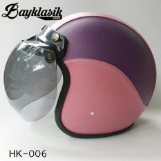 Helm Bogo Full Kulit Pink & Ungu (HK-006)
