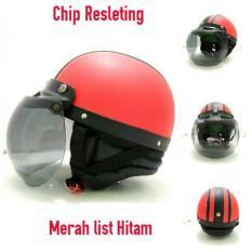 Jual Helm Bogo Retro Chip Resleting Merah Hitam Kaca Bogo Ori Baru