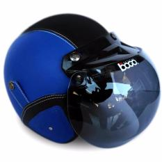 Helm Bogo Retro Full Synthetic Leather dewasa / Remaja + Kaca Bogo Original - Biru/Hitam