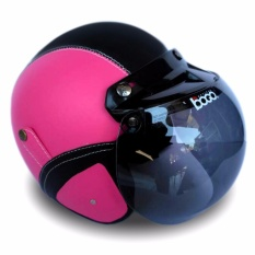 Helm Bogo Retro Full Synthetic Leather dewasa / Remaja + Kaca Bogo Original - Pink/Hitam