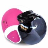 Toko Jual Helm Bogo Retro Full Synthetic Leather Dewasa Remaja Kaca Bogo Original Pink Putih