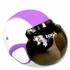 Spesifikasi Helm Bogo Retro Full Synthetic Leather Dewasa Remaja Kaca Bogo Original Putih Ungu Handmade