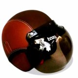 Helm Bogo Retro Full Synthetic Leather Dewasa Remaja Kaca Bogo Original Coklat Coklat Tua Murah