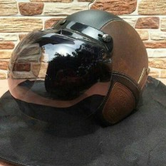 Helm Bogo Retro Kulit Classic Coklat Hitam Kaca Bogo