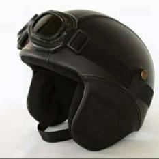 Beli Helm Bogo Retro Kulit Classic Hitam Polos Kacamata Secara Angsuran