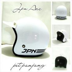 Helm Bogo Retro SNI JPN ARC PUTIH GLOSY + Pet Panjang