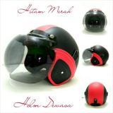 Spesifikasi Helm Bogo Retro Sni Kulit Merah Hitam Kaca Bogo Ori Yang Bagus