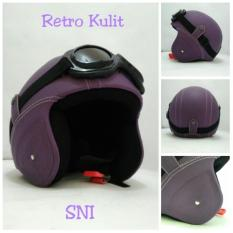 Spesifikasi Helm Bogo Retro Sni Kulit Ungu Polos Kacamata Dan Harga