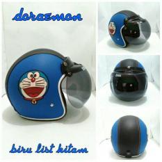 Helm Bogo Retro Timbul Kulit Klasik Doraemon Biru List Hitam