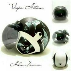 Helm Bogo Vespa Hitam List Putih Kaca Bogo Original Bisa Request Warna