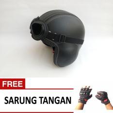 Helm Broco Pilot Kacamata Retro Dewasa - Hitam - Free Sarung Tangan Motor