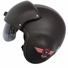 Helm Broco Pilot Pet Visor Bordil - Hitam