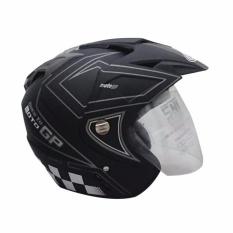 Helm Dmn 2 kaca (double visor) Moto gp Black doff abu