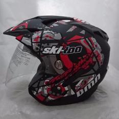 Helm DMN 2 kaca (double visor) Ski doo Black doff red