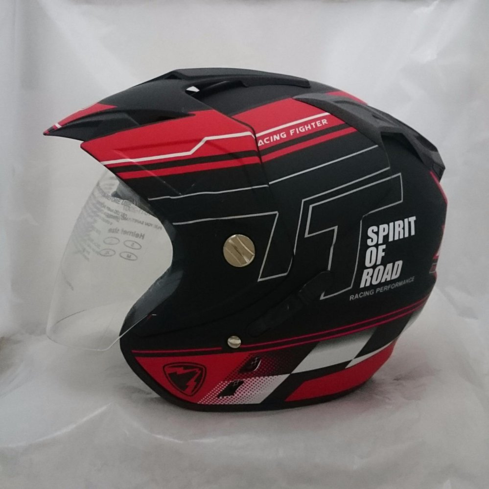 Helm Double Visor (2 kaca) R-9 Black Red Doff