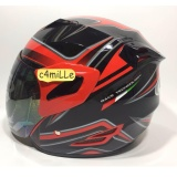 Cuci Gudang Helm Gm Fighter Se Huricane Red Black Half Face
