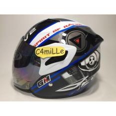 HELM GM FIGHTER SPORT V2 SR WHITE BLUE HALF FACE / Helm GM