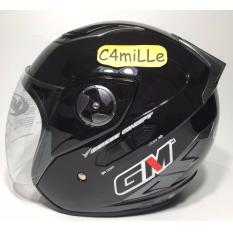 HELM GM INTERCEPTOR SOLID BLACK DOUBLE VISOR HALF FACE